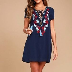 NWT Lulu's Navy Embroidered Lace Up Dress